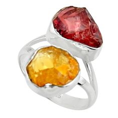 12.96cts natural red garnet rough citrine rough 925 silver ring size 8 r49120