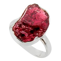 10.23cts natural red garnet rough fancy 925 silver solitaire ring size 8 r49009
