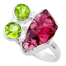 11.89cts natural red garnet rough peridot 925 sterling silver ring size 7 r29725