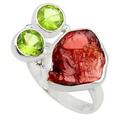 12.89cts natural red garnet rough peridot 925 sterling silver ring size 8 r30190