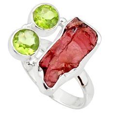 12.31cts natural red garnet rough peridot 925 sterling silver ring size 8 r38341