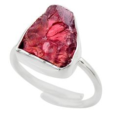 7.78cts natural red garnet rough silver adjustable solitaire ring size 7 r29695