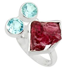 12.83cts natural red garnet rough topaz 925 sterling silver ring size 6.5 r30191