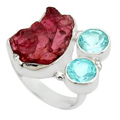 12.83cts natural red garnet rough topaz 925 sterling silver ring size 6 r30192