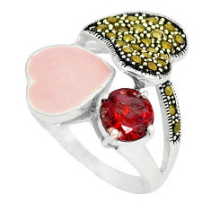 Natural red garnet round marcasite enamel 925 silver ring size 7 c18275