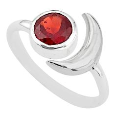 2.39cts natural red garnet round sterling silver adjustable ring size 8 t4246