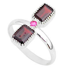2.82cts natural red garnet ruby 925 sterling silver handmade ring size 9 t5593