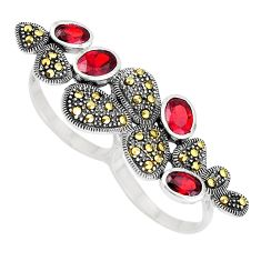 Natural red garnet 925 silver two finger couple lady face ring size 7 c16011