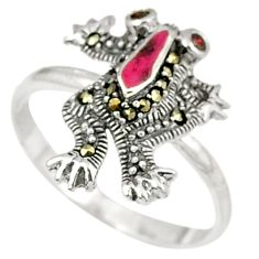 Natural red garnet swiss marcasite 925 sterling silver frog ring size 7 c22979
