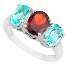 5.07cts natural red garnet topaz 925 sterling silver ring size 6.5 r84071