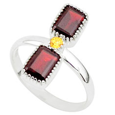 3.40cts natural red garnet yellow citrine 925 sterling silver ring size 10 t5573
