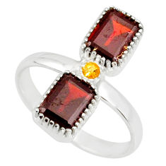 3.83cts natural red garnet yellow citrine 925 sterling silver ring size 9 r77252