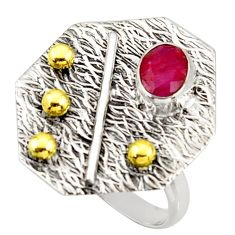 1.58cts natural red ruby 925 silver 14k gold solitaire ring size 8 r37329