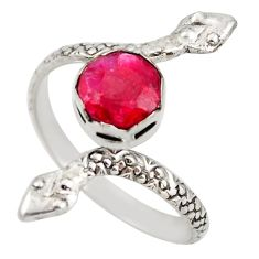 3.13cts natural red ruby 925 silver snake solitaire ring size 11.5 d46291