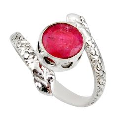 3.29cts natural red ruby 925 silver snake solitaire ring jewelry size 8.5 d46292