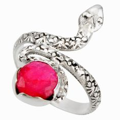 3.35cts natural red ruby 925 silver snake solitaire ring jewelry size 8 d46290