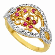 0.47cts natural red ruby 925 sterling silver 14k gold ring jewelry size 8 c26314