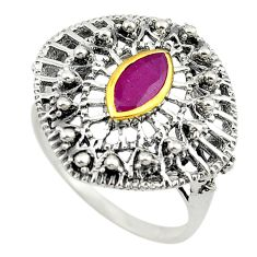 Natural red ruby 925 sterling silver 14k gold ring jewelry size 9 c22900