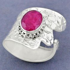 4.02cts natural red ruby 925 sterling silver adjustable ring size 7.5 r63433