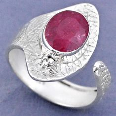 3.83cts natural red ruby 925 sterling silver adjustable ring size 9 r63316