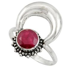 2.40cts natural red ruby 925 sterling silver half moon ring size 8.5 r41610