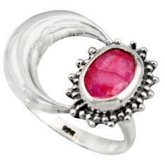 3.32cts natural red ruby 925 sterling silver half moon ring size 8.5 r41766
