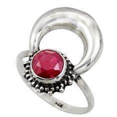 2.44cts natural red ruby 925 sterling silver half moon ring size 8 r41633