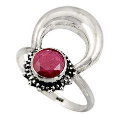 2.58cts natural red ruby 925 sterling silver half moon ring size 9 r41632