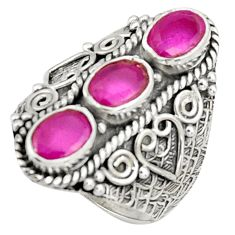 4.72cts natural red ruby 925 sterling silver ring jewelry size 7.5 r37989