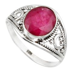 3.50cts natural red ruby 925 sterling silver ring jewelry size 8.5 r42742