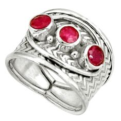 1.77cts natural red ruby 925 sterling silver ring jewelry size 7 r38026