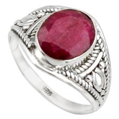 3.43cts natural red ruby 925 sterling silver ring jewelry size 7 r42743