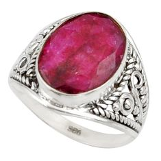 6.22cts natural red ruby 925 sterling silver ring jewelry size 7 r42781