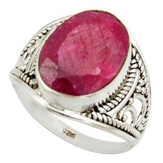 6.41cts natural red ruby 925 sterling silver ring jewelry size 7 r42783