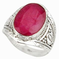6.51cts natural red ruby 925 sterling silver ring jewelry size 7 r42803