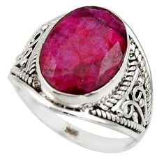 5.49cts natural red ruby 925 sterling silver ring jewelry size 7 r44925