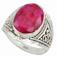 6.39cts natural red ruby 925 sterling silver ring jewelry size 8 r42801