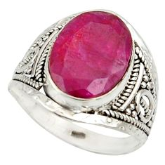 6.54cts natural red ruby 925 sterling silver ring jewelry size 8 r42802