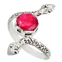 3.48cts natural red ruby 925 sterling silver snake ring jewelry size 9.5 d46252