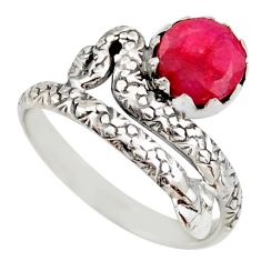 3.13cts natural red ruby 925 sterling silver snake solitaire ring size 10 d46288