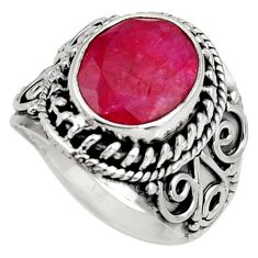 5.18cts natural red ruby 925 sterling silver solitaire ring size 7.5 d39028