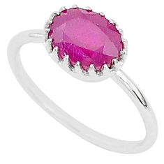 2.02cts natural red ruby 925 sterling silver solitaire ring jewelry size 6 t5225