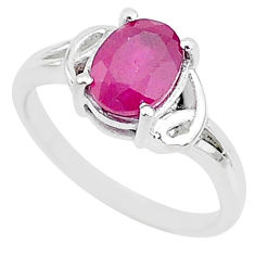 1.81cts natural red ruby 925 sterling silver solitaire ring jewelry size 7 t5170