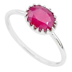 2.03cts natural red ruby 925 sterling silver solitaire ring jewelry size 7 t5231