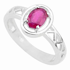 1.64cts natural red ruby 925 sterling silver solitaire ring jewelry size 7 t5239