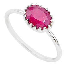 2.02cts natural red ruby 925 sterling silver solitaire ring jewelry size 9 t5232
