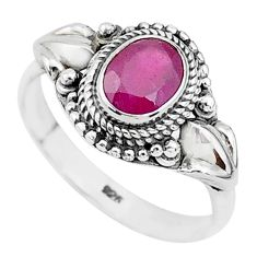 1.55cts natural red ruby 925 sterling silver solitaire ring jewelry size 9 t5240