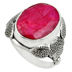 10.89cts natural red ruby 925 sterling silver solitaire ring size 8.5 r22743