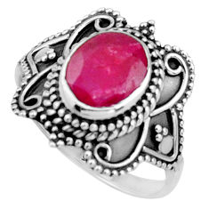 3.62cts natural red ruby 925 sterling silver solitaire ring size 7.5 r26783