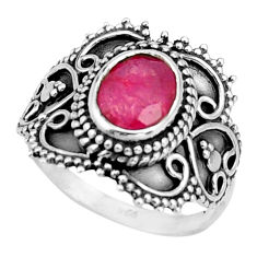 3.14cts natural red ruby 925 sterling silver solitaire ring size 7.5 r26786